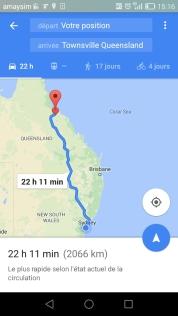 En route pour le Queensland. La perception des distances change vite en Australie.